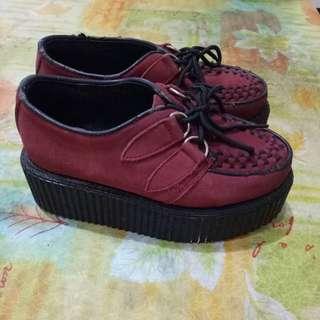 紅色 厚底鞋 250含運