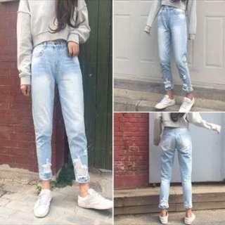 刷白窄管牛仔褲