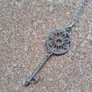 Silver Key Flower Necklace