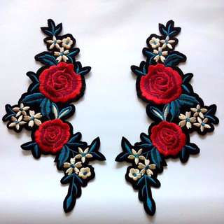 Flower Rose Bloom Border Iron On Patch Set