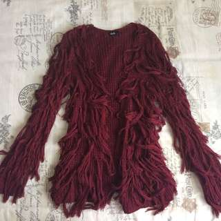 Maroon Dark Red Shaggy Fluffy Wooly Tassel Detail Long Jacket Cardigan Top Long Sleeve Size Small /8