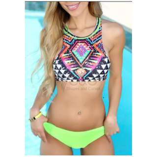 Repriced Tribal Aztec High Neck Neon Green Bikini Bottom Two Piece Swimwear