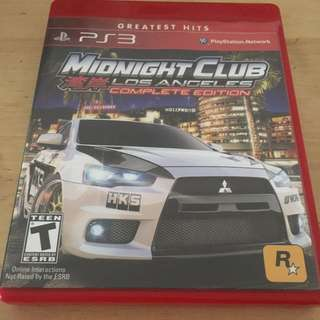 Midnight Club Los Angeles For Sony PlayStation3 PS3