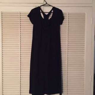 Racer Back Black Dress