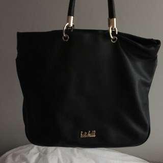 Kate Hill Designer Brand Handbag Bag Shoulder Handles Black Leather Saffiano Gorgeous Like New