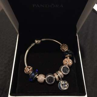 Pandora Bangle With Rose And Blue Charms