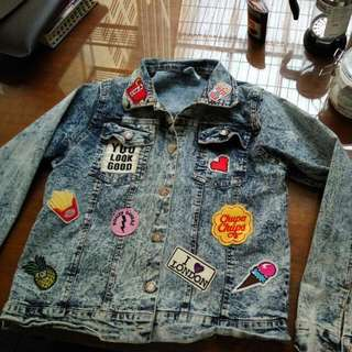 Pin Washed Jeans Jacket