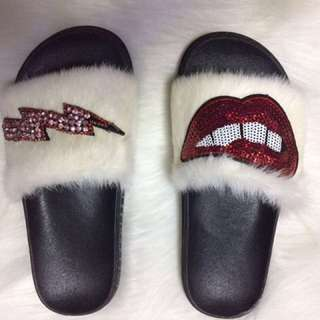 Real Fox Fur Slides Posh