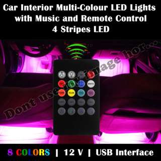 Car Interior Multi-Coloured LED Lights With Music and Remote Control