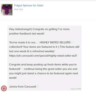 Highly Rated Seller for W21, thank you Carousell