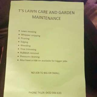 T'S LAWN CARE AND GARDEN MAINTENANCE