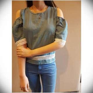 Denim Blue Off-shoulder Dress