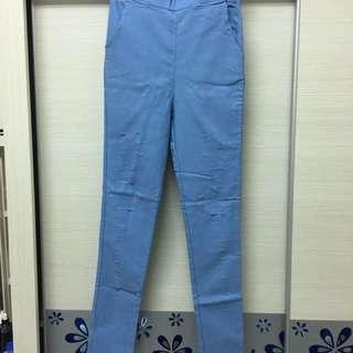 水藍色彈性打底褲