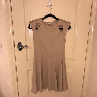 Cream Cut-out Shoulder Dress