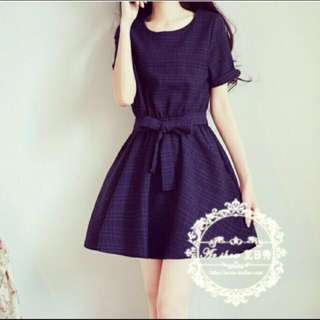 Navy Blue Checkered Dress With Ribbon