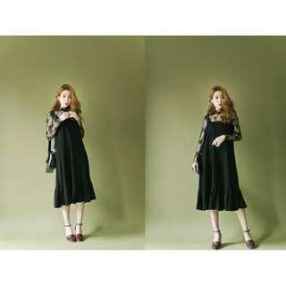 LULUS-下接裙擺魚尾細肩連身洋裝(黑)