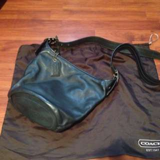 Navy Leather Coach Sling Bag