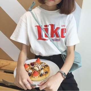 Like字母印花T恤
