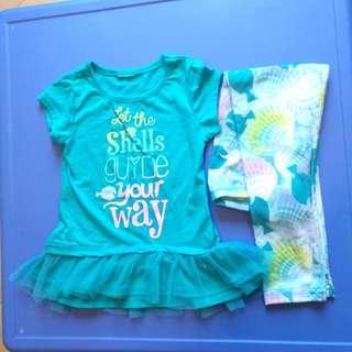 一套2/3歲女童 Dory Nemo套裝 T 褲子 90 95