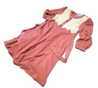 「深粉色 珍珠花 白領 古著長袖洋裝 @一中 舊到過去 肩: 38cm 長: 107cm」