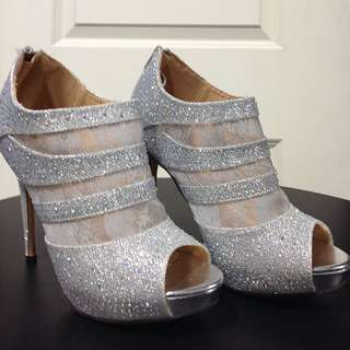 Silver Heels With Lace