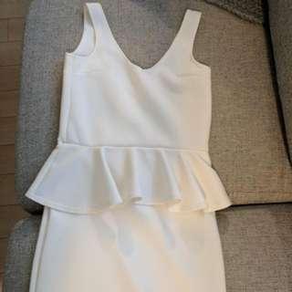White Peplum Dress - Never Worn