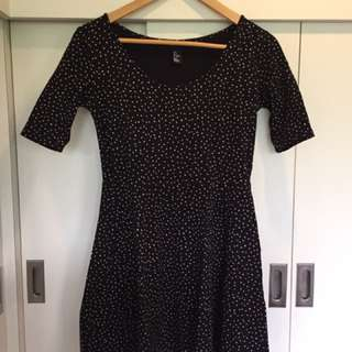 H&M Black Dress With White Spots Detail