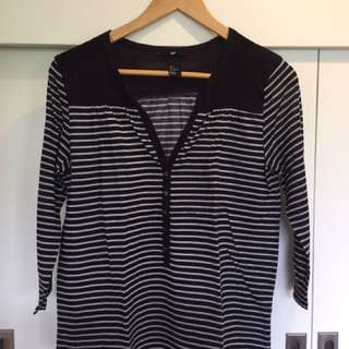 H&M Black And White Stripes Blouse