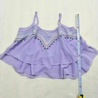 粉紫層次雪紡刺繡背心 #100元上衣