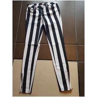 Jeans Strips Black And White Zara Size 36