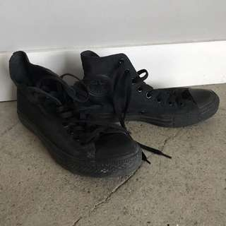 Converse High Tops All Black Size 8.5 Women's