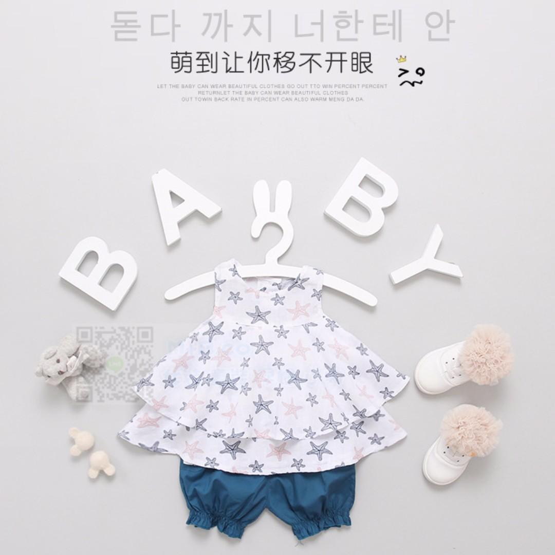 #預購童裝5館0521韓版女寶寶星星圖案兩件套裝