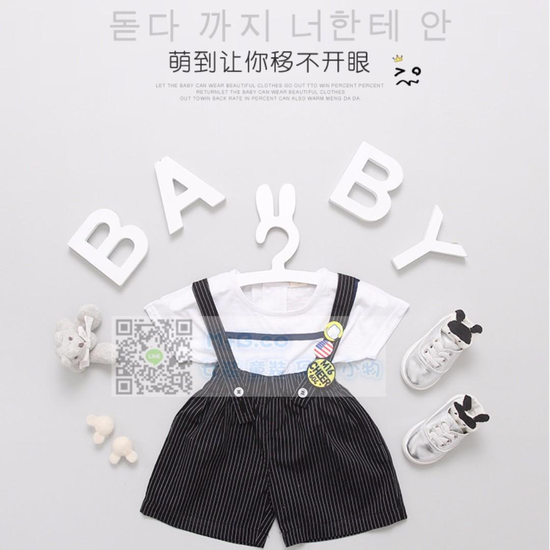 #預購童裝5館0521女寶寶韓版條紋背帶褲+T恤兩件套裝