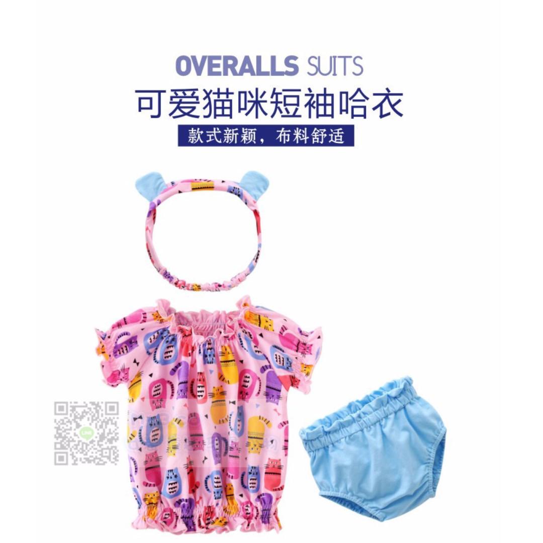 #預購童裝6館0522韓版女寶寶可愛貓咪短袖+褲子兩件套 (附髮圈)