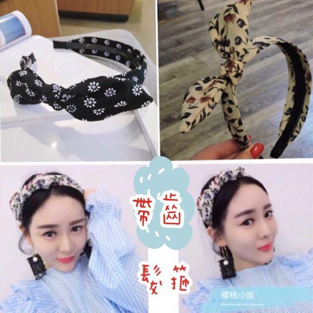 現貨實拍✨韓國窄邊雪紡碎花帶齒髮箍