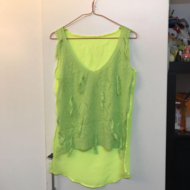 #一百元上衣-前短後長螢光黃拼接背心