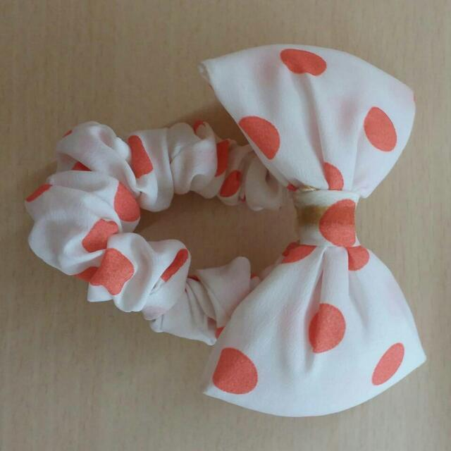 粉橘白波點蝴蝶結髮飾
