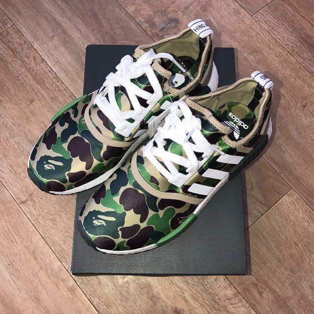 Bape x Adidas NMD R1 Olive camo Green, Men's Fashion