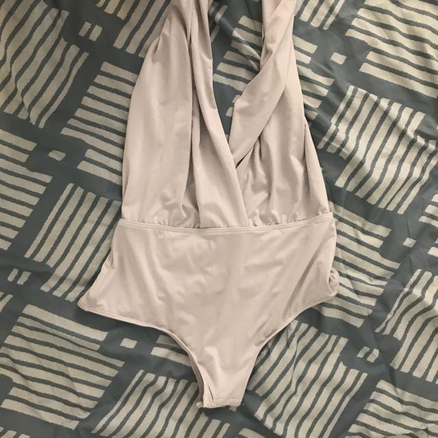 "Beige ""Wear Any way You Want"" Bodysuit"