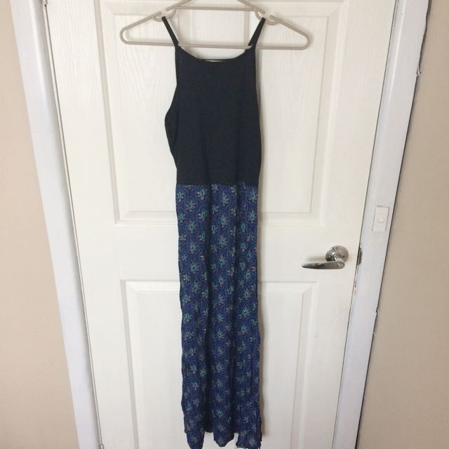 Black And Blue Muto Colour Paisley Print Maxi Dress Size S/8