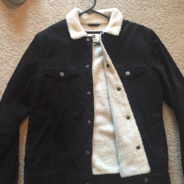 Black Fleece Lined Corduroy Jacket