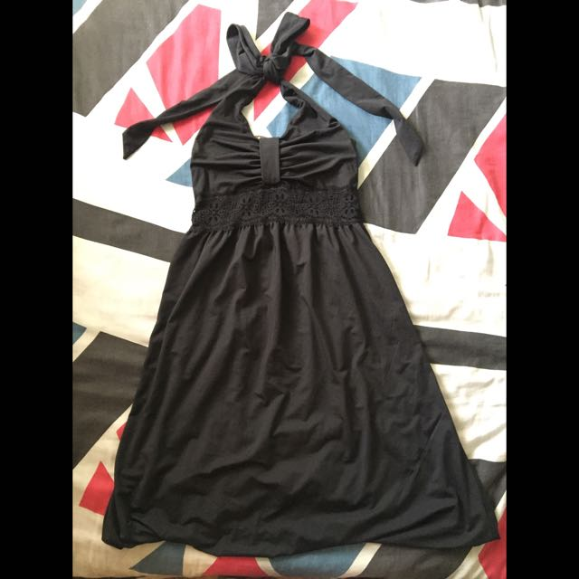 Black Halter Bubble Dress