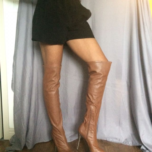 Brown And Bronze Thigh High Boots
