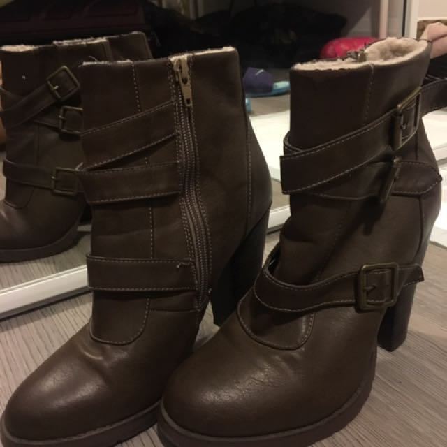 Brown Buckle Booties Size 5/38