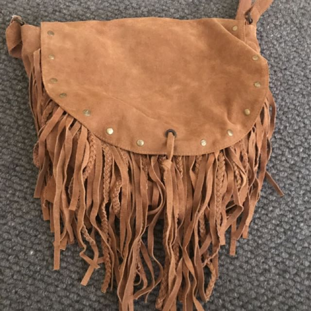 Camel Coloured Fringe Bag