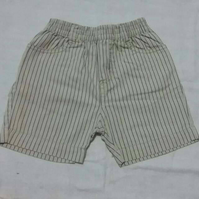 Celana Pendek Garis2 (Merk : Baby Popeye Usia 6-12 Bulan)