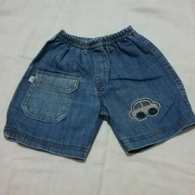Celana Pendek Jeans Denim (Usia 6 -12 Bulan)