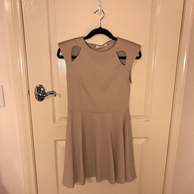 Cream Cut-out Shoulder Dress
