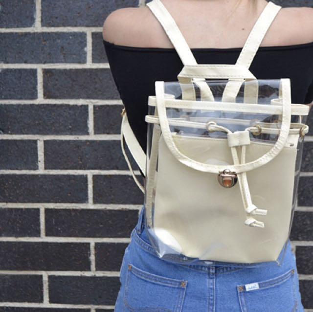 Cream PU Festival Backpack - Never Used!!