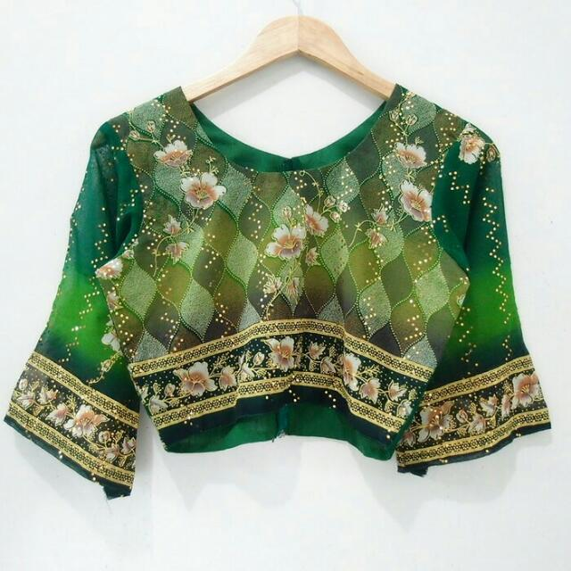Crop Top Green Etnik